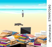 cluttered. beach. one goes... | Shutterstock .eps vector #579997090