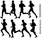 set of silhouettes. runners on... | Shutterstock .eps vector #580000084