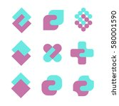 unity abstract geometric logo... | Shutterstock .eps vector #580001590