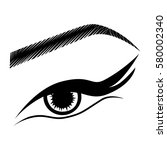 illustration with woman's eye... | Shutterstock .eps vector #580002340