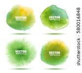 set of bright green   yellow... | Shutterstock .eps vector #580016848