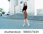 fashionable female model in... | Shutterstock . vector #580017634