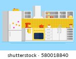 convenient modern kitchen flat... | Shutterstock .eps vector #580018840