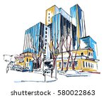 high rise_building_sketch | Shutterstock .eps vector #580022863
