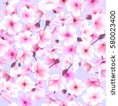 seamless pattern with cherry... | Shutterstock .eps vector #580023400