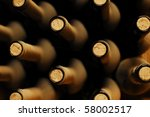 stacked up wine bottles in the... | Shutterstock . vector #58002517