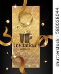 vip invitation card with gold... | Shutterstock .eps vector #580028044