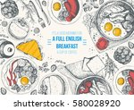 english breakfast top view... | Shutterstock .eps vector #580028920