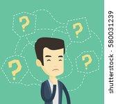 thinking business man standing... | Shutterstock .eps vector #580031239
