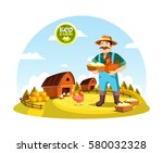eco farm with farmer holding... | Shutterstock .eps vector #580032328