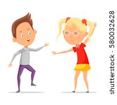 kid or boy dancing or greeting... | Shutterstock .eps vector #580032628