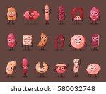 meat cartoon characters. food... | Shutterstock .eps vector #580032748