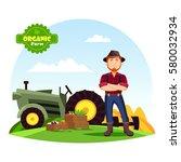 farmer man in hat with beard... | Shutterstock .eps vector #580032934