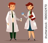 man pharmacist in uniform and...   Shutterstock .eps vector #580032970