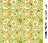 seamless pattern with melon | Shutterstock .eps vector #580034260