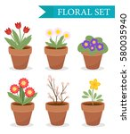 flower pot with different... | Shutterstock .eps vector #580035940
