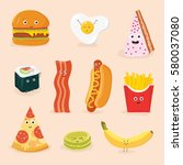 funny food cartoon characters... | Shutterstock .eps vector #580037080