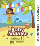 baby shower party invitation... | Shutterstock .eps vector #580038214