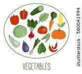 vegetables flat icons set ...   Shutterstock .eps vector #580041994