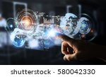 hologram screen with digital... | Shutterstock . vector #580042330