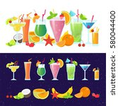 set of tasty colorful cocktails ... | Shutterstock .eps vector #580044400