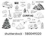 camping objects  trip doodle... | Shutterstock .eps vector #580049320