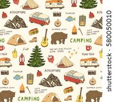 camping objects  trip doodle... | Shutterstock .eps vector #580050010