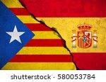 spain flag on broken brick wall ... | Shutterstock . vector #580053784