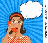 girl with telephone handset on... | Shutterstock .eps vector #580056229