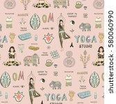 yoga lesson pattern | Shutterstock .eps vector #580060990