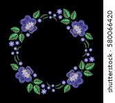 vintage embroidery wreath with... | Shutterstock .eps vector #580066420