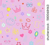 girlish seamless pattern with...   Shutterstock .eps vector #580068463
