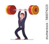 smiling businessman lifting big ... | Shutterstock .eps vector #580074223