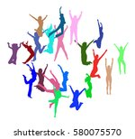 team achievement win win  | Shutterstock .eps vector #580075570