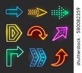neon realistic arrows signs  | Shutterstock . vector #580082359