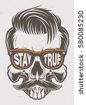 fashion skull with glasses ... | Shutterstock .eps vector #580085230