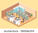 isometric interior of grocery... | Shutterstock .eps vector #580086394