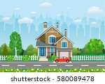 private suburban house with... | Shutterstock .eps vector #580089478