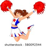 cheerleader girl | Shutterstock . vector #580092544