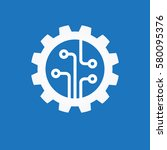gear with chip. flat design... | Shutterstock .eps vector #580095376