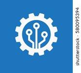 gear with chip. flat design...   Shutterstock .eps vector #580095394