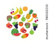 round shape made of fruit and... | Shutterstock .eps vector #580102210