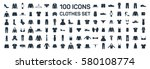 clothes 100 icon set on white... | Shutterstock .eps vector #580108774
