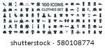 clothes 100 icon set on white...