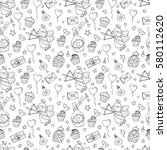 valentine seamless pattern with ... | Shutterstock .eps vector #580112620