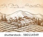 hand drawn vineyard landscape... | Shutterstock .eps vector #580114549