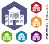 bank building icons set rhombus ... | Shutterstock . vector #580120273