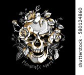 metallic skull with a gold... | Shutterstock .eps vector #580124860
