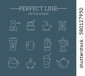 tea and coffee  icon set | Shutterstock .eps vector #580127950