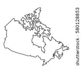 thin line map of canada icon.... | Shutterstock .eps vector #580128853